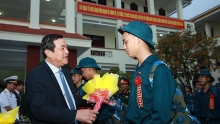 young vietnamese people sent off for military services
