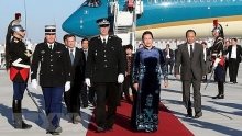 na chairwoman begins official visit to france