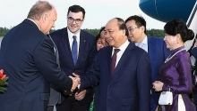 prime minister arrives in russia beginning official visit