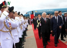 party leader arrives in phnom penh begins state visit