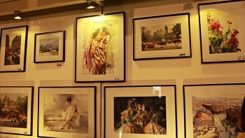 nearly 220 works on display at intl watercolour painting exhibition