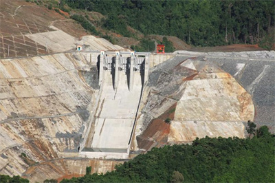 A dam at Song Bung 2 Hydroelectric Plant breaks