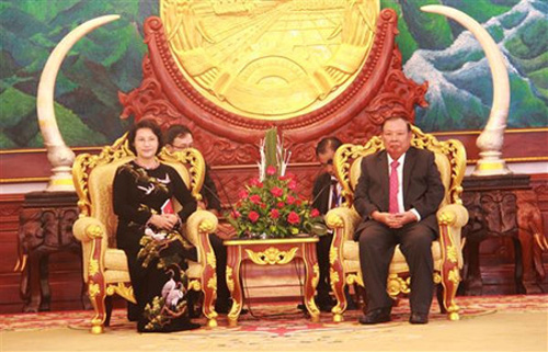 NA Chairwoman visits Vietnam Embassy, meets Lao senior leaders