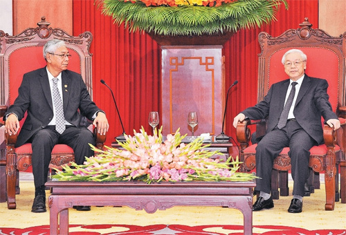 Party General Secretary receives Myanmar President